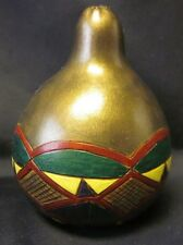 Hand Painted Gourd Signed Hughes Vtg Metallic Gold Green Free Us Ship 2.5' '85