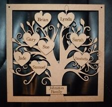 Personalised wooden family tree natural shabby chic 15 names hanging decoration