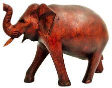 Hermoso Elefante 18cm de pie felicidad Elefante Suar Madera África Decoración