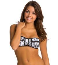 NEW Tavik Pina Colada Cleo Bandeau Bikini Top Pineapples Black White [SZ XS] #73