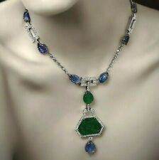 Handmade Carved Emerald & Sapphire 925 Sterling Silver CZ Highend Necklace Women