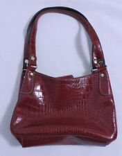 Liz & Co Faux Alligator Purse Hand Bag Tote Red Gator