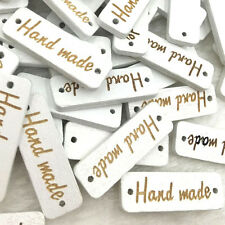 """100Pcs Mix White """"Handmade"""" 2 Holes Wood Sewing Buttons scrapbooking WB358"""