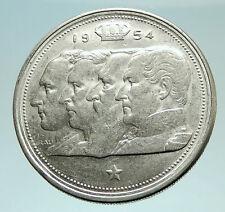 1954 BELGIUM Kings Leopold I II III & Albert I Silver 100 Francs Coin i76013