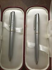 SHEAFFER PRELUDE Pens Silver Tone with Gold Accents Orig Cases Lot of 2 Engraved