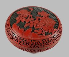 Big vintage old Chinese cinnabar lacquer round box  20cm diameter 952