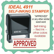 APPROVED, Custom Made Trodat / Ideal Self Inking Rubber Stamp 4911 Red Ink