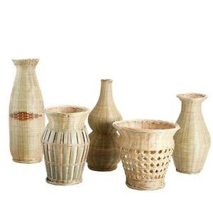 Handmade Bamboo Creative Tabletop Vase Woven Basket Plant Home Decore Flower Pot