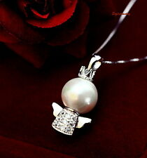 White Gold Filled Clear Crystal White Pearl Little Angle Necklace N154