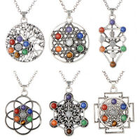7 Chakra Gemstone Stone Beads Healing Point Dowsing Reiki Pendant Charm Necklace