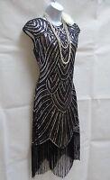1920'S GATSBY VINTAGE CHARLESTON SEQUIN TASSEL FLAPPER DRESS SIZE 10 12 14 16 18