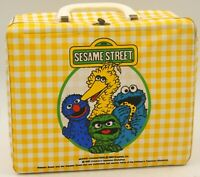 Vintage 1981 SESAME STREET vintage vinyl lunch box With Thermos With Some Wear.