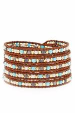 Chan Luu Blue Mix Wrap Bracelet on Natural Brown Leather