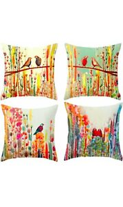 Set Of 4 Colourful Animal Square Cushion Covers - Perfect For Living Rooms, Bedr