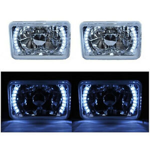 "4X6"" White LED Halo Angel Eye Headlight Halogen Headlamp 55/60W Light Bulbs Pair"