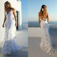 Chic Mermaid Spaghetti Straps Lace Wedding Dress Sexy Backless Beach Bridal Gown