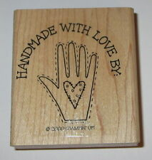 Handmade With Love By Stampin' Up Rubber Stamp Handprint Heart New Retired