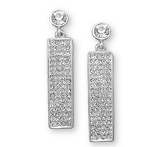 Silver Tone Rectangle Long Bar Drop Fashion Earrings with Crystal