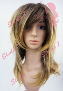 W136 Golden Blonde Dark Root Mid Length Choppy Layers Wig - studio7-uk