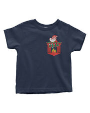 Santa Christmas Fireplace Pocket Image Toddler T-Shirt Gift Idea