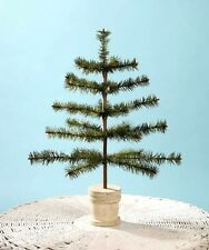 """Bethany Lowe 21"""" Vintage Style Christmas Feather Tree In White Spool Bucket Base"""