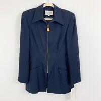 NEW Mary McFadden Women's Studio Suits Zip Up Blazer Jacket Size 8 Blue Career