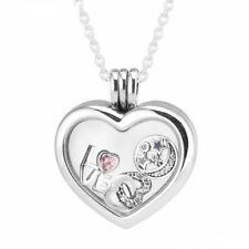 Pandora Floating Heart Locket Necklace + love heart and moon + gift pouch