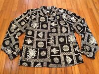 Vintage 80's Womens 8/M Black White Secretary Geek Button Front Secretary Blouse