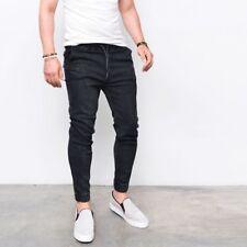 2018 Men's Slim Fit Denim Jogger Pants Skinny Solid Jeans Pants Leggings Jogger
