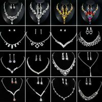 Chic Crystal Pearl Womens Pendant Necklace Earrings Wedding Bridal Jewelry Set