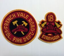 """RARE 1960s/70s FRENCH VALE ROAD FIRE DEPT LETTERMAN WOOL PATCHES 6"""" CAPE BRETON"""
