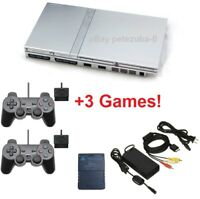 Silver PS2 Slim Console Sony PlayStation 2 Complete Bundle Lot Controllers Games