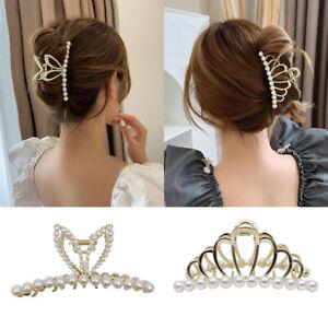 Ladies Pearl Hair Claw Clips Large Elegant Metal Girls Hair Clamps Barrettes UK
