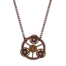 Alloy Steampunk Halskette mit Strass Zahnräder Anhänger Geschenk Ancient Rot
