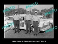 OLD LARGE HISTORIC PHOTO OF TAMPA FLORIDA THE POLICE CHEVROLET PATROL CAR c1956