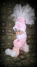 pink elf girl Christmas snowflakes kneehugger pixie OOAK pink white striped hat