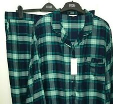 M&S Ladies Pyjama Set Blue Check Top Bottoms Soft BNWT Marks
