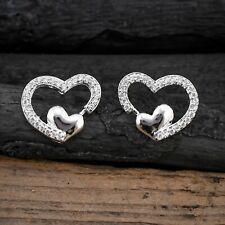 Cubic Zirconia Stud Earrings Love Heart Shape White CZ Silver Plated Ear Jewelry