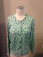 Lands' End Green Blue Cheetah Animal Print Cardigan Sweater M P Supima Cotton