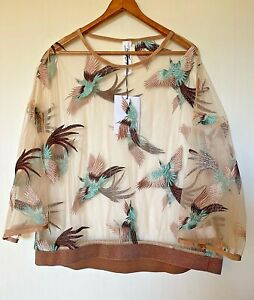 """M A Dainty """"I'm Sacked Top"""" mesh,  embroidered loose top RRP $249  NWT S/10"""