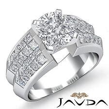Shiny Cushion Diamond Designer Engagement Ring GIA G VS2 14k White Gold 2.72 ct