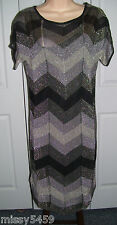 OASIS Women's Gray Black ZigZag Stripe Metallic Dress Cami Lined XS NWTS $120
