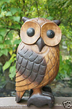 "VINTAGE SOLID WOOD HAND CARVED LARGE OWL BIRD 20"" TALL"