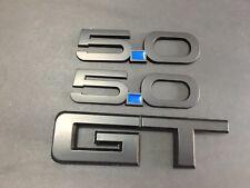 "Mustang 5.0 GT Emblem Badge Blue Matte Black 1 Set (3pcs)GT 7"""