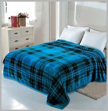 Solaron Korean Blanket throw Mink silky soft King Size Plush Blue new