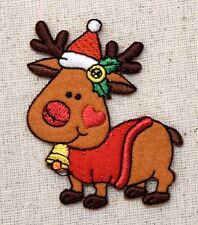 Iron On Embroidered Applique Christmas Reindeer Santa Hat/Bells/Holly/Heart