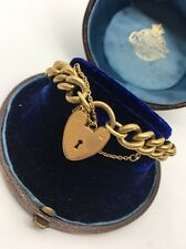 Vintage Rolled Gold Curb Bracelet With Heart Padlock