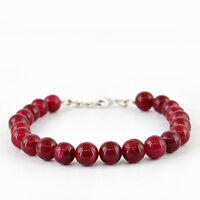 136.50 CTS EARTH MINED RICH RED RUBY ROUND SHAPED BEADS BRACELET (RS)