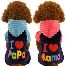 New I Love Mama Papa Clothes Pet Cat Dog Sport Jersey Hoodie Winter Warm Costume