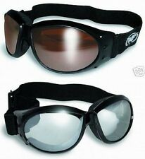 2 Motorcycle Atv Padded Goggles-Sun Glasses-Clear Mirror & Driving Mirror Lenses